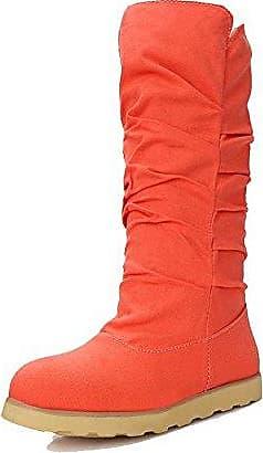 VogueZone009 Damen Rein Kurz Velours Niedriger Absatz Rund Zehe Ziehen auf Stiefel, Orange, 42