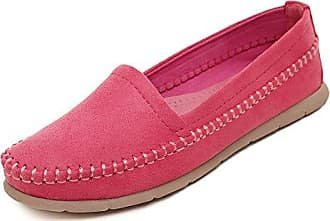 SHOWHOW Damen Bequem Slip on Blockabsatz Frühjahr Schuhe Slipper Pink 42 EU ZEOmo2KZ