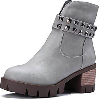 Aisun Damen Mode Blockabsatz Plateau Schnürstiefeletten Martin Stiefel Schwarz 37 EU f1mNO