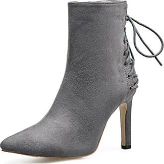Aisun Damen Spitz Zehen Knöchelhohe Metallic Perlen Stiletto Stiefel Mit Reißverschluss Schwarz 32 EU 37fMVOHS5l