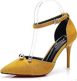 Damen Schuhe Sandalen Pumpe - Knöchelriemen - Stiletto - Perle - Nieten - Besetzt - Golden Stiletto High Heel 10 cm - Gelb L6121 T 38 Angkorly dVEkBfYIV