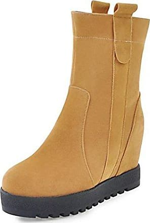 SHOWHOW Damen Nubuk Halbschaft Stiefel mit Blockabsatz Gelb 38 EU O05VrlJ2
