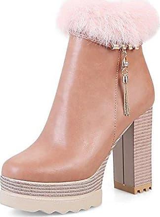 SHOWHOW Damen Schleife Strass Schuh Kurzschaft Stiefel mit Absatz Pink 44 EU IeVbHq