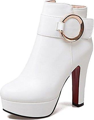 Easemax Damen Modisch Spitze Zehe Schnürung Stilettos Ankle Boots Mit Absatz Weiß 38 EU B3jOIj
