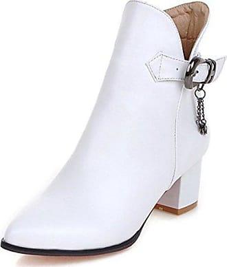 SHOWHOW Damen Mädchen Süß Spitze Schleife Kurzschaft Stiefel Mit Plateau Weiß 34 EU QfMGM