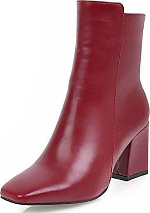 Aisun Damen Kunstleder Perlen Kurzschaft Blockabsatz Reißverschluss Chelsea Boots Stiefel Schwarz 42 EU FRRnn4