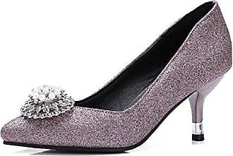 Easemax Damen Rund Zehe Metall Quaste Glitzer Plateau Stilettos Pumps Violett 34 EU nO30b