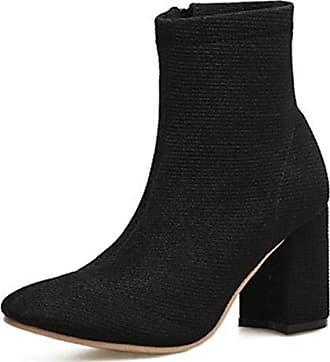Aisun Damen Kurzschaft Stiefel Blockabsatz Reißverschluss Stiefelette Schwarz 38 EU 1xoaz