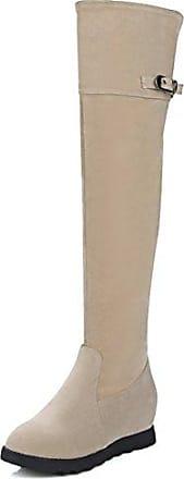 Aisun Damen Runde Zehen Unsichtbare Keilabsatz Schnalle Elastisch Overknee Langschaft Stiefel Beige 39 EU JeVlaWuP