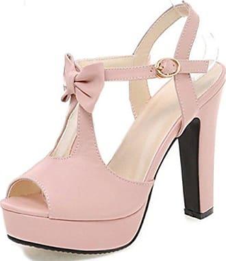Damen Blume Peep Toe High Heels Pumps Sandalen mit Schnalle Pink 31 EU Easemax fedB5TWwQR