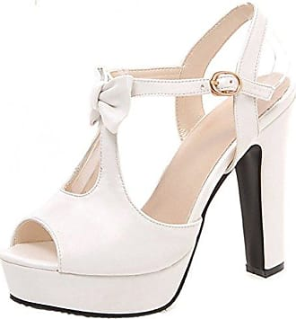 Aisun Damen Sexy Peep Toe KnöchelriemchenKeilabsatz Sandale Weiß 36 EU wrcz8