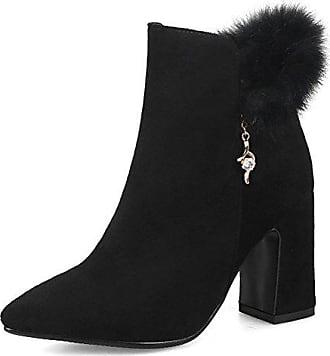 Aisun Damen Kunstleder Perlen Kurzschaft Blockabsatz Reißverschluss Chelsea Boots Stiefel Schwarz 36 EU Q4Vn9hG