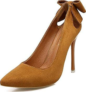 Aisun Damen Elegant Schleifen Metall Suede Low Cut Spitz Stiletto Pumps Grau 36 EU n4p4e