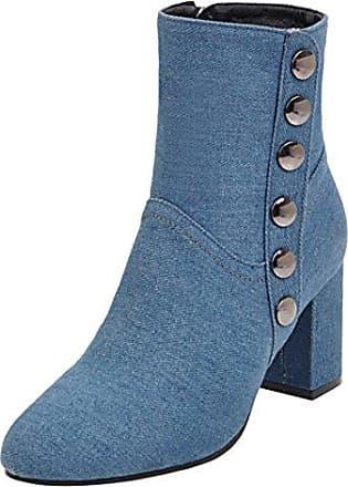 AIYOUMEI Damen Herbst Winter Denim Stiefeletten mit Nieten und 7cm Absatz Blockabsatz High Heels Kurzschaft Stiefel 504EM4P6