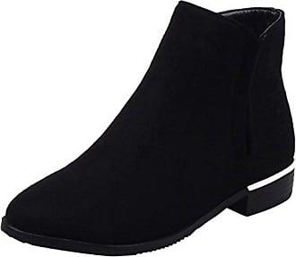 AIYOUMEI Damen Flach Stiefeletten mit Nieten und Kunstfell Plateau Ankle Boots Winter Kurzschaft Stiefel 0yE2AsXot