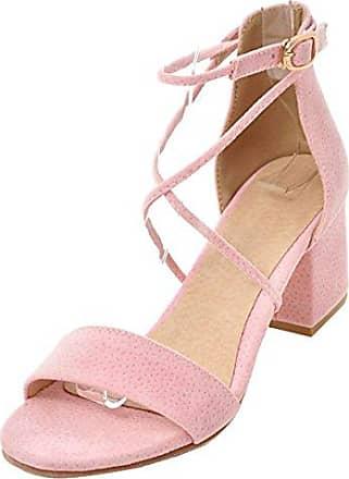 SHOWHOW Damen Niedrig Blockabsatz Rund Zehen Sandalen mit Schnalle Pink 42 EU JQhQL1