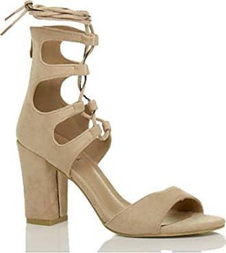 SHOWHOW Damen Peep Toe Lack Kunstleder Pumps Sandale mit Absatz Beige 36 EU wU8Wgx