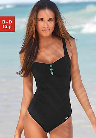 Damen Badeanzug mit wattierten Cups, schwarz Lascana