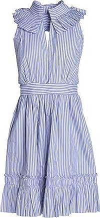 Alexis Woman Open-back Striped Cotton-poplin Mini Dress Light Blue Size XS Alexis U5PSZ