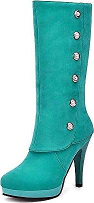 AgooLar Damen Mattglasbirne Rund Zehe Hoher Absatz Mitte-Spitze Stiefel mit Juwelen, Grün, 39