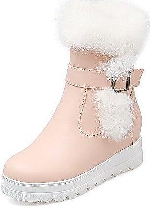 AgooLar Damen Niedriger Absatz Eingelegt Rund Zehe Ziehen auf Stiefel mit Schnalle, Pink, 34