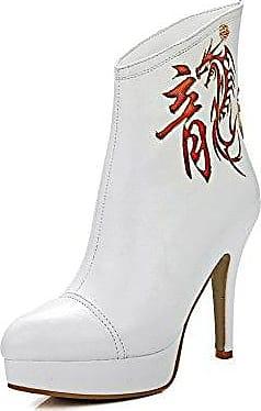 AllhqFashion Damen Niedrig-Spitze Rein Stiletto Blend-Materialien Spitz Zehe Stiefel, Weiß, 36