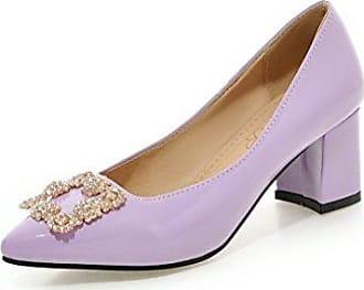 AgooLar Damen Spitz Zehe Mittler Absatz Lackleder Eingelegt Ziehen auf Pumps Schuhe, Pink, 32