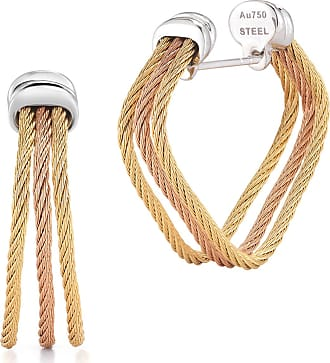 Alór 18k White & Yellow Gold Split Cable Hoop Earrings dDIbX