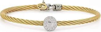 Alór 18kt White Gold & Stainless Steel Classique Large Single Square Diamond Bangle dtwVU75Par