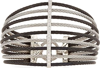 Alór Multi-Row Split Wide Bangle w/ Diamonds, Black/Gray