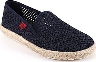 Unisex Slip-On Schuhe aus dunkelblauem Leinen. Gummisohle mit Jute-Rand. Gr. 45 Andres Machado hXhuBBuXz