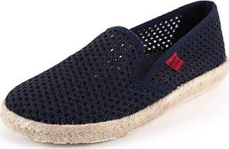 Andres Machado - Unisex Slip-On Schuhe aus dunkelblauem Stoff in Netzstruktur. Gummisohle mit Jute-Rand. Gr. 48 wFXdvvS4