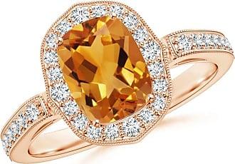 Angara Antique-Style Diamond Framed Cushion Amethyst Scroll Patterned Ring KKHgms
