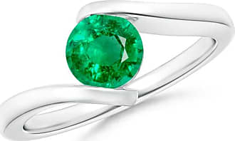 Angara Bar-Set Solitaire Round Emerald Bypass Ring ghOTlsDL5