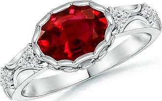 Angara Bezel Framed Ruby Vintage Ring in Platinum wjLuOF9