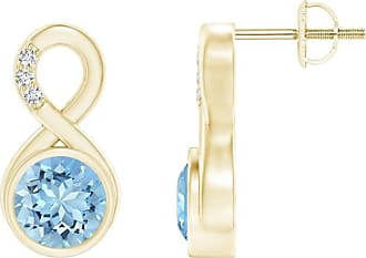 Angara Princess Enhanced Blue and Diamond Halo Love Knot Earrings(4.2mm) UYTx7Dh