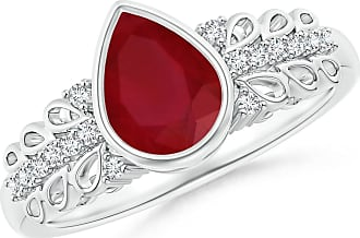 Angara Bezel-Set Ruby and Diamond Vintage Ring With Carving in Platinum VHDorO