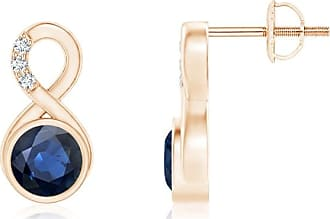 Angara V-Prong Princess Blue Diamond Basket Stud Earrings(4.4mm) BaC5RI