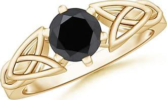 Angara Milgrain Edges Enhanced Black Diamond Solitaire Ring(6.2mm) Rose Gold PyCUvIj