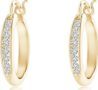 Angara Channel Set Princess Enhanced Blue Diamond Half Hoop Earrings(2mm) hfxMV