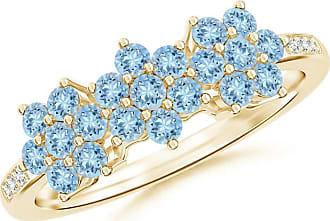 Angara Classic Aquamarine Triple Cluster Ring in White Gold 1KzwK5f