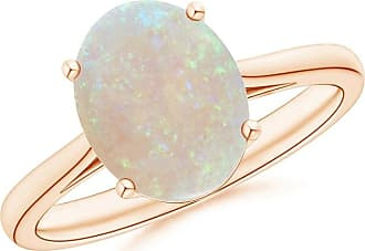 Angara Classic Cabochon Opal Solitaire Ring With Petal Motifs n3msQlCYex