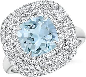 Angara Claw Cushion Aquamarine Diamond Triple Framed Cocktail Ring fn8zvmjQ