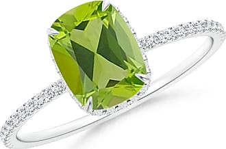 Angara Cushion Peridot Solitaire Ring in White Gold iRaibIA8
