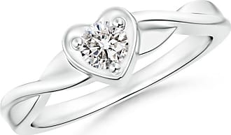 Angara Heart Carved Shank Black Diamond Solitaire Ring(5.8mm) in Rose Gold W7qNze