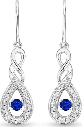 Angara Dancing Blue Sapphire Infinity Drop Earrings with Diamond ik7mU2
