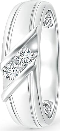 Angara Diagonal Two Stone Diamond Wedding Band with Ridged-Edge n8LDYPCy