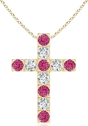 Angara Flat Prong-Set Pink Tourmaline Diamond Cross Pendant in Yellow Gold IbL6EU8wk9