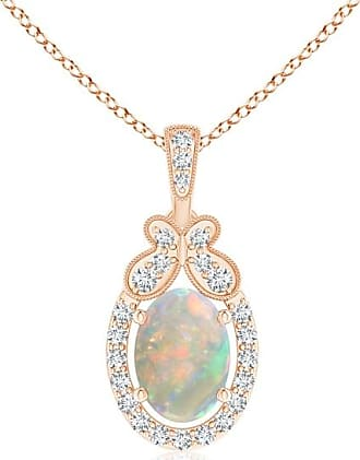 Angara Floating Opal and Diamond Halo Pendant with Butterfly Motif Ela78