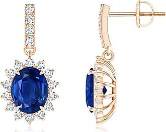 Angara Princess Blue Diamond Three Stone Journey Earrings(3.5mm) nCkJIetd